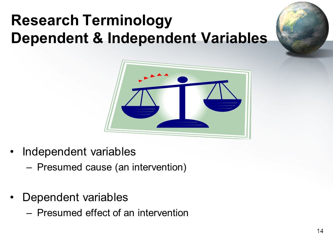 Research Terminology Dependent & Independent Variables