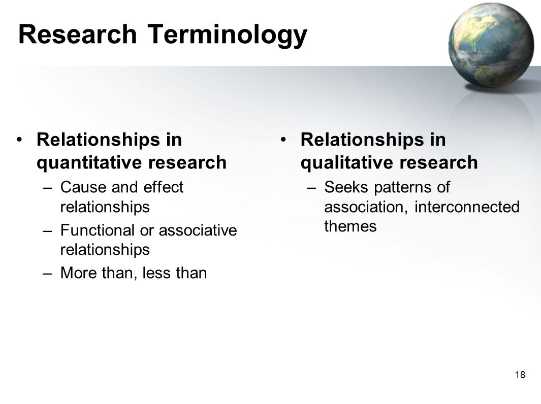 Research Terminology Relationships in quantitative research