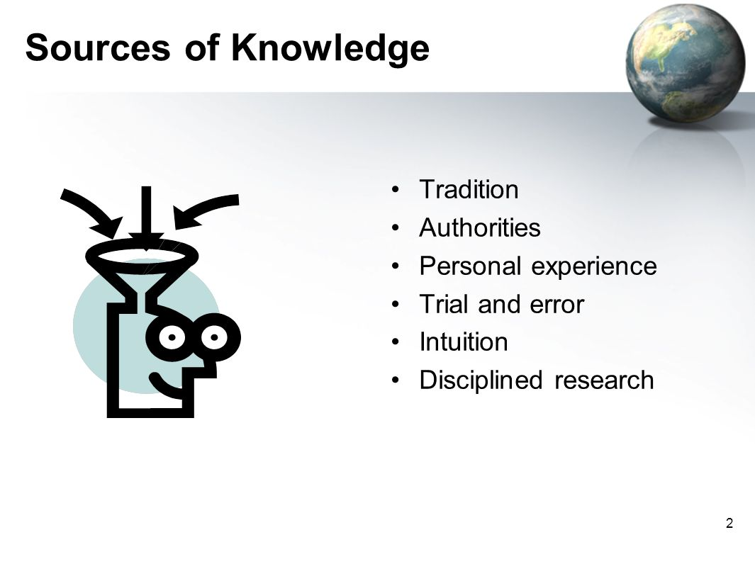 Sources of Knowledge Tradition Authorities Personal experience