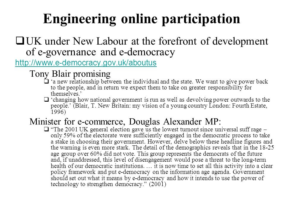 Engineering online participation