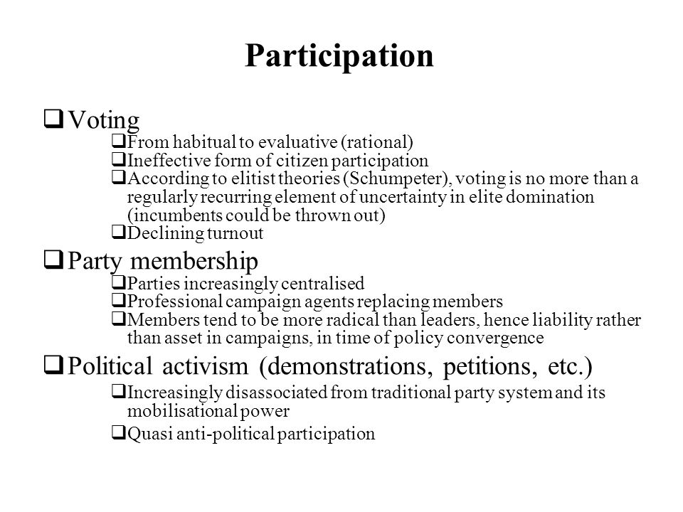 Participation Voting Party membership