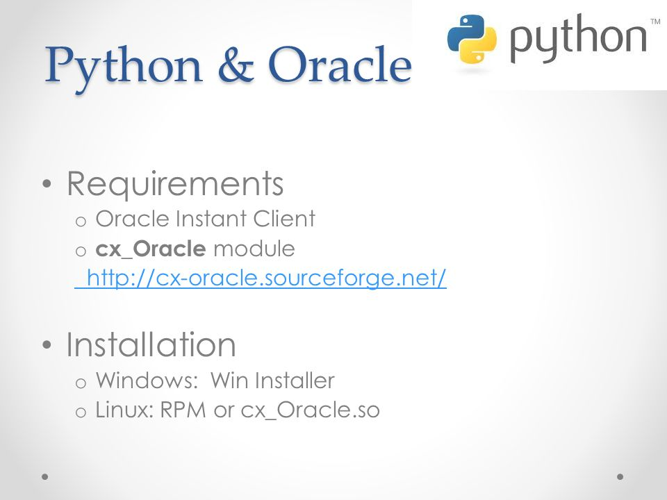 Python & Oracle Requirements Installation Oracle Instant Client