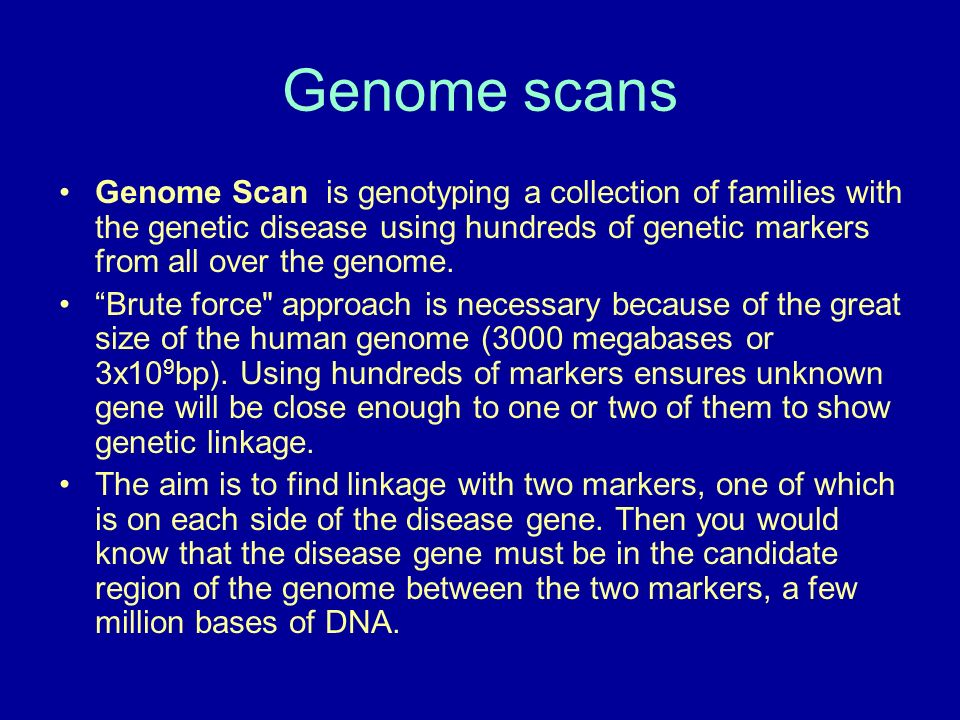 Genome scans Genome Scan is genotyping a collection of families with the genetic disease using hundreds of genetic markers from all over the genome.