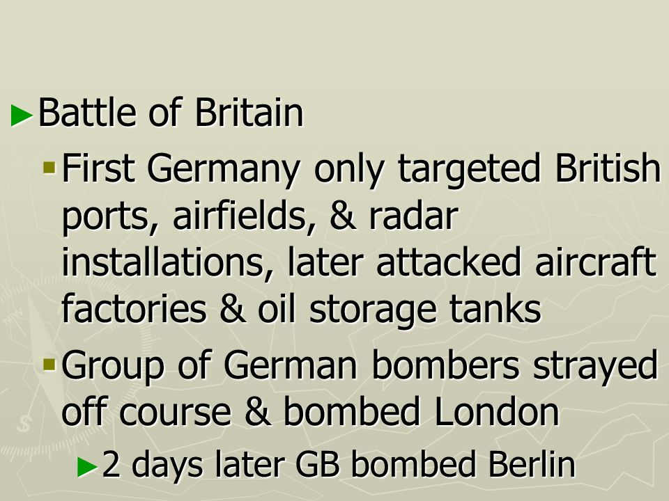 Group of German bombers strayed off course & bombed London