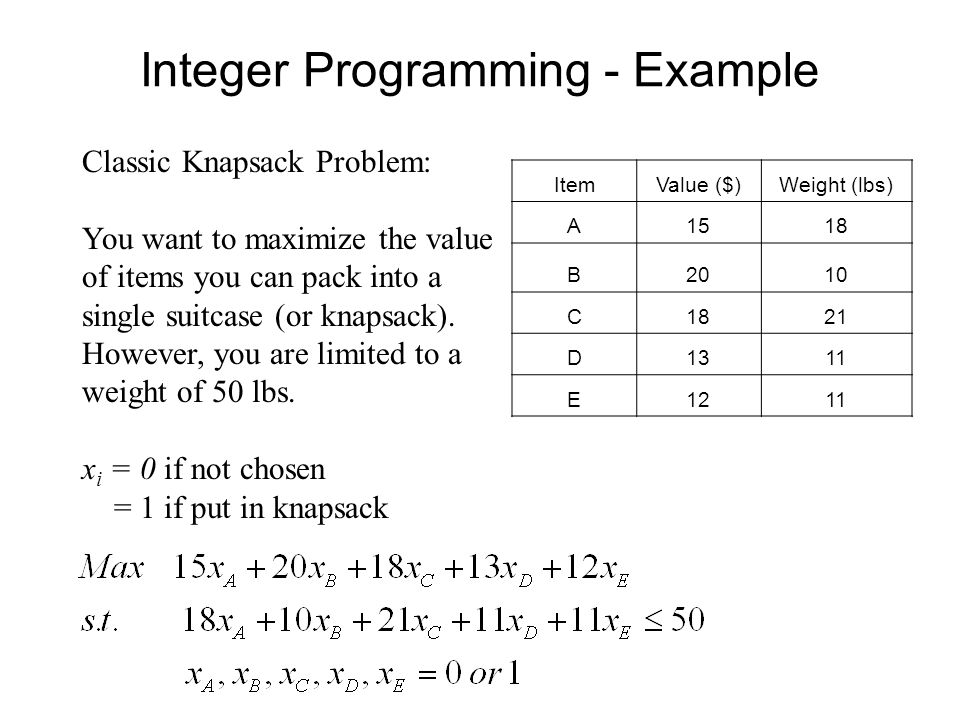 Integer Programming Key Characteristic Of An Integer Program Ip Or