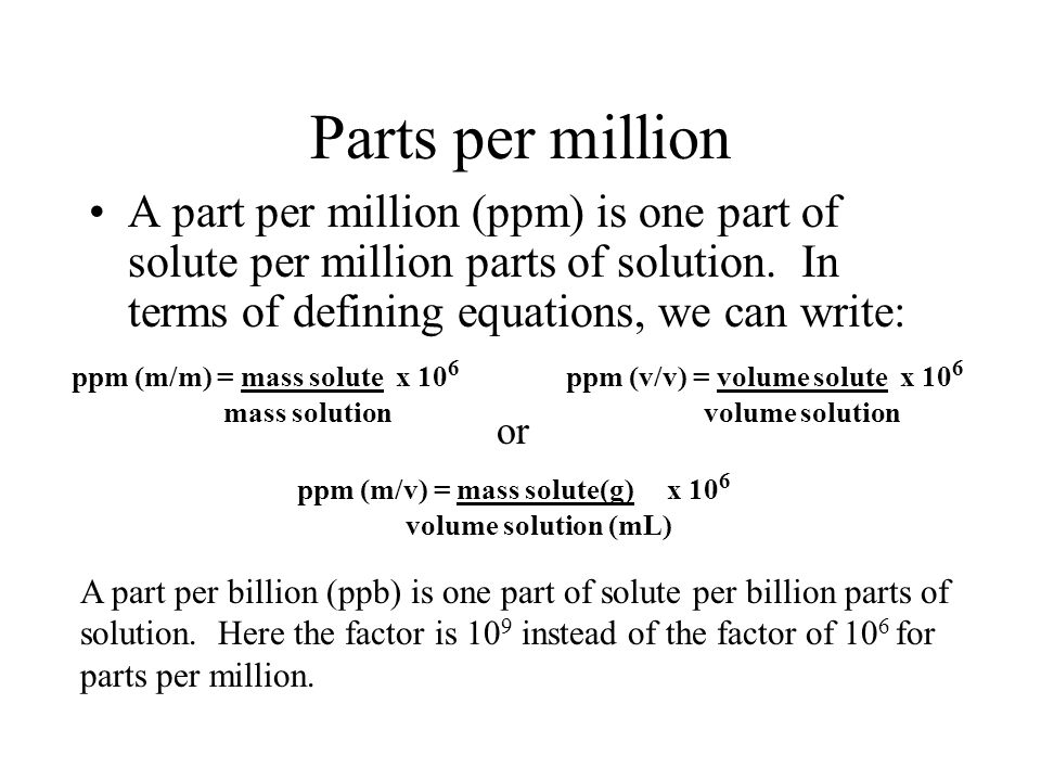 parts per million Ppm (parts per million) is a measurement used by many customers to measure quality performance definition: one ppm means one (defect or event) in a million or 1/1,000,000 in the past a good supplier would have a defect rate of less than 1%, (10,000 ppm.