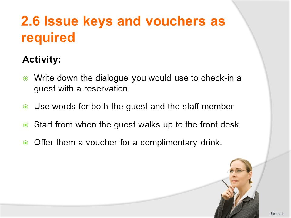 PROVIDE ACCOMMODATION RECEPTION SERVICES - ppt download