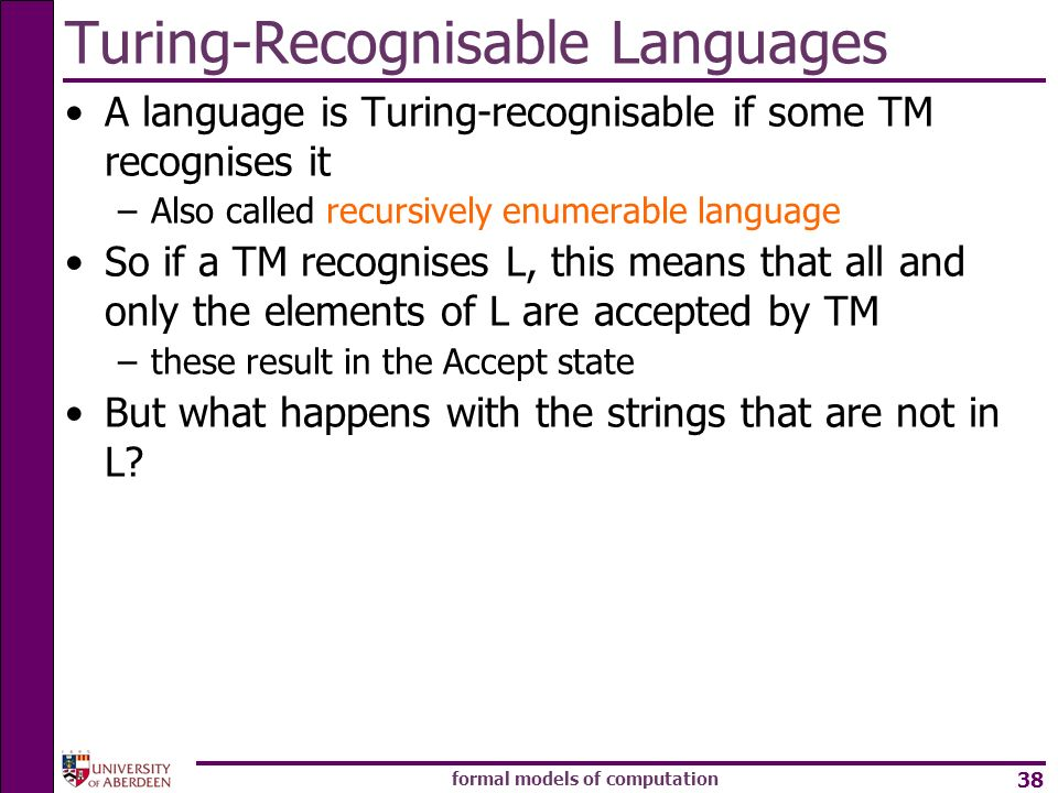 Turing-Recognisable Languages