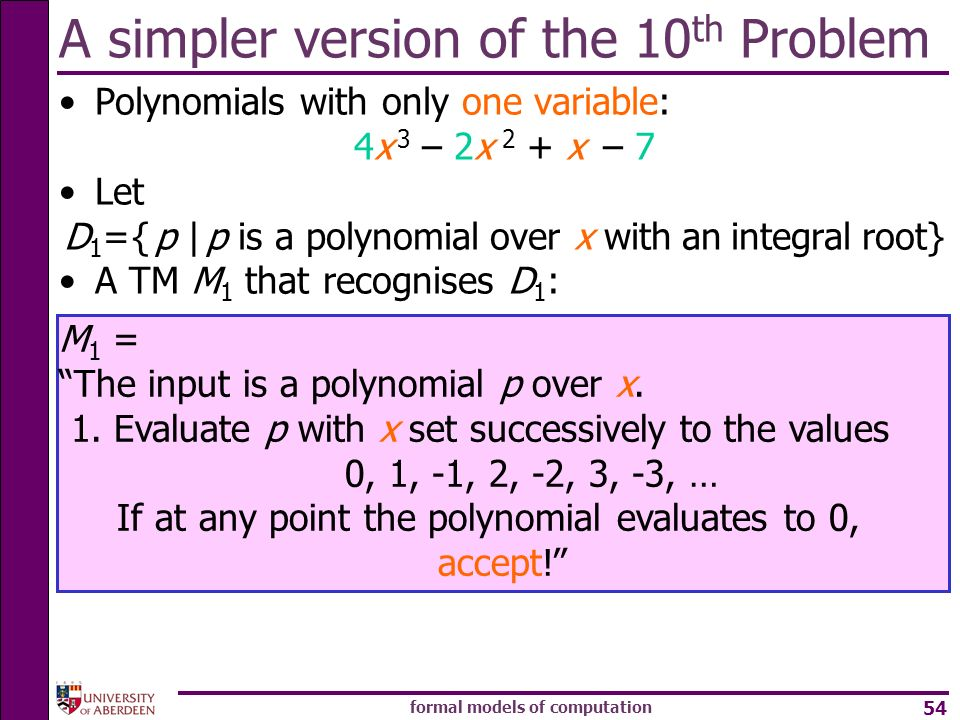 A simpler version of the 10th Problem