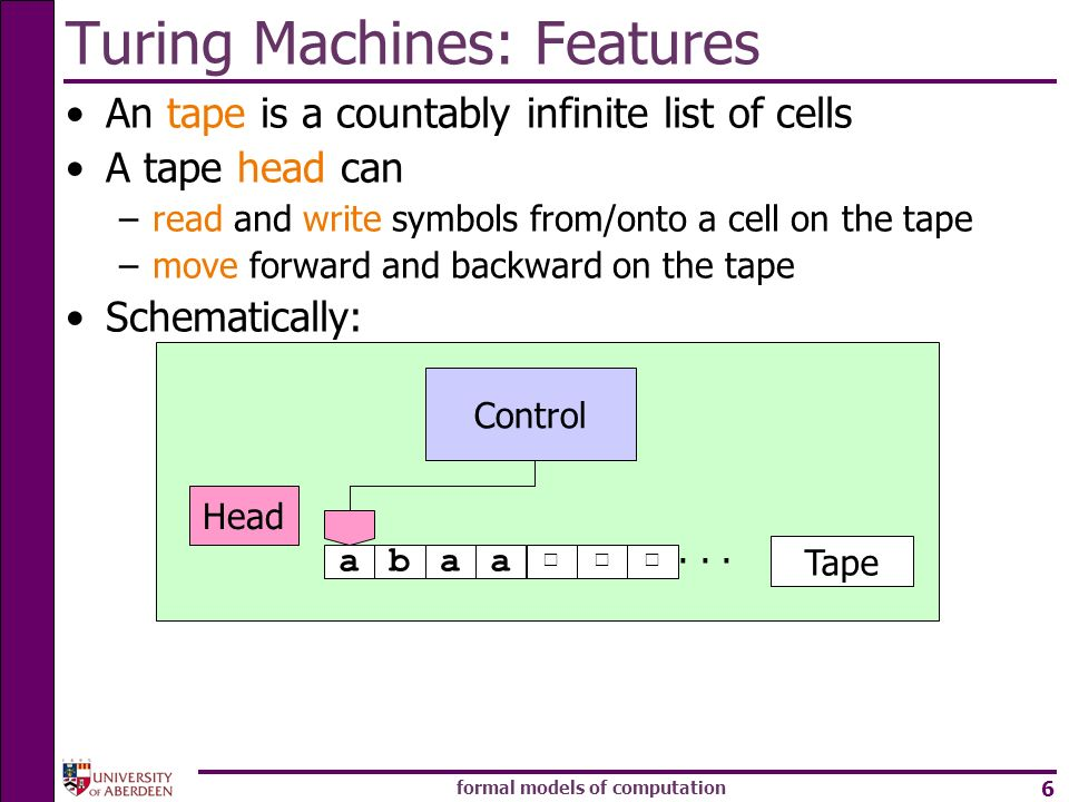 Turing Machines: Features