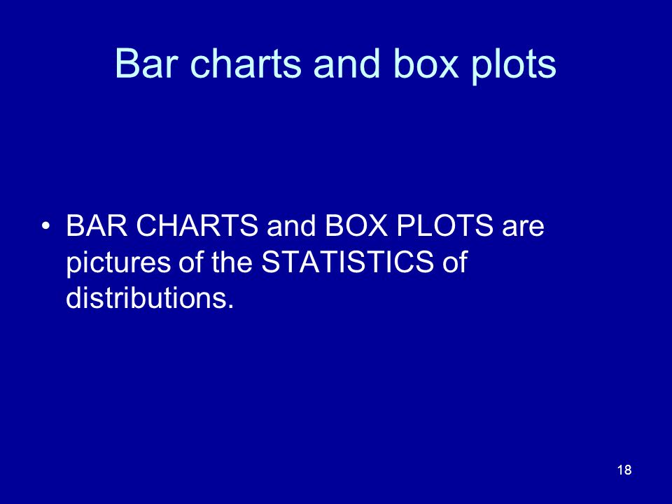 Bar charts and box plots