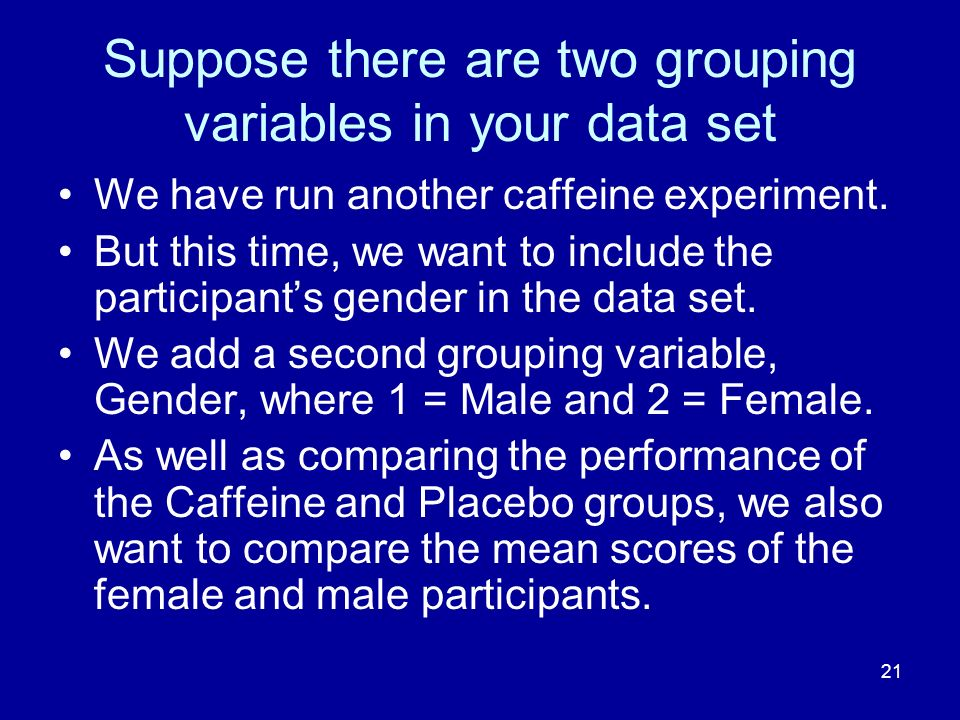 Suppose there are two grouping variables in your data set