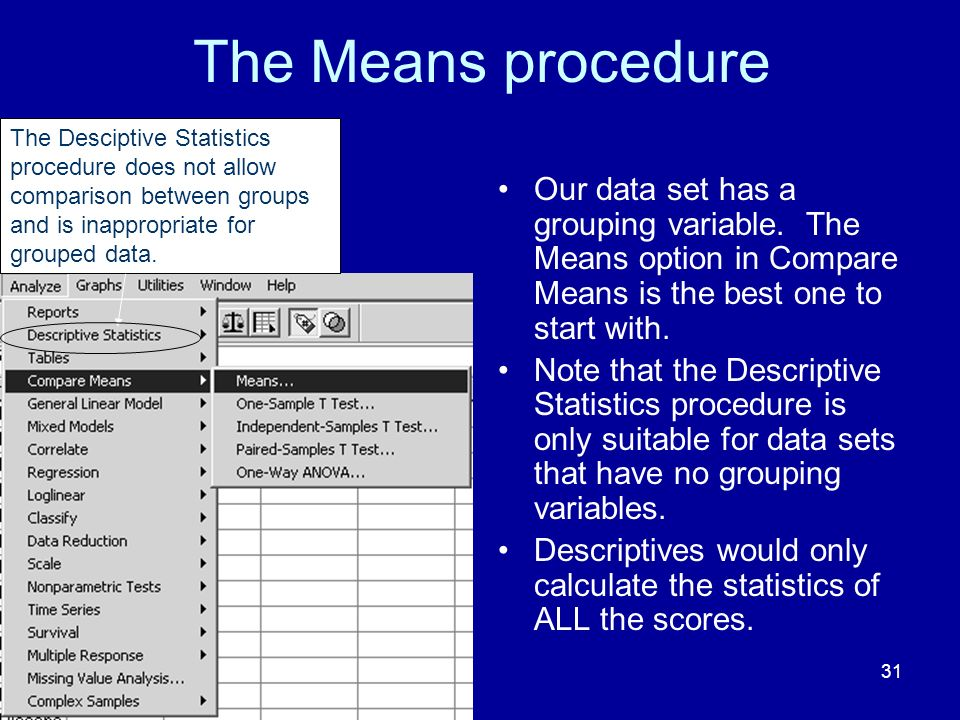 The Means procedure The Desciptive Statistics procedure does not allow comparison between groups and is inappropriate for grouped data.