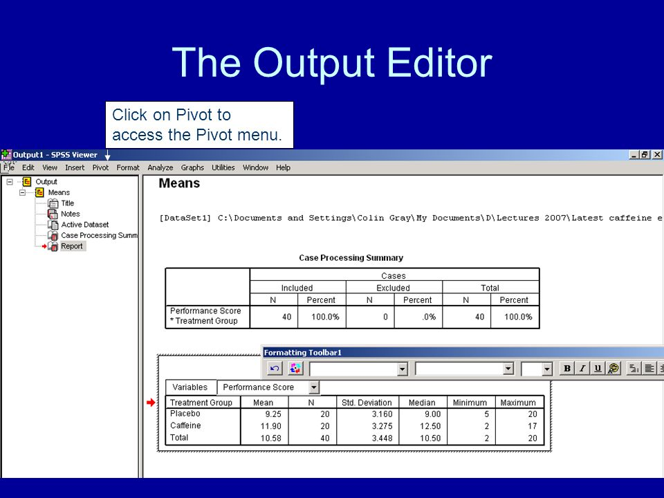 The Output Editor Click on Pivot to access the Pivot menu.