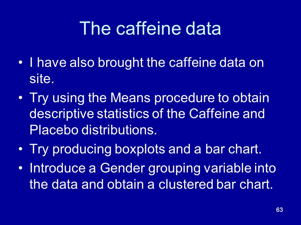 The caffeine data I have also brought the caffeine data on site.