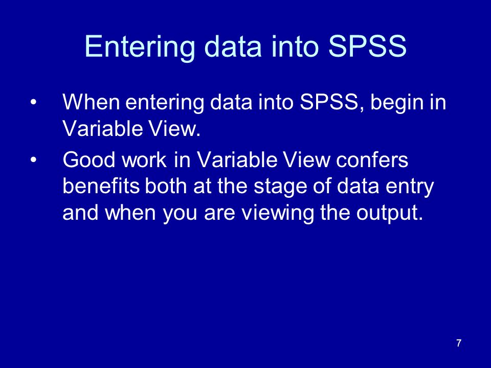 Entering data into SPSS