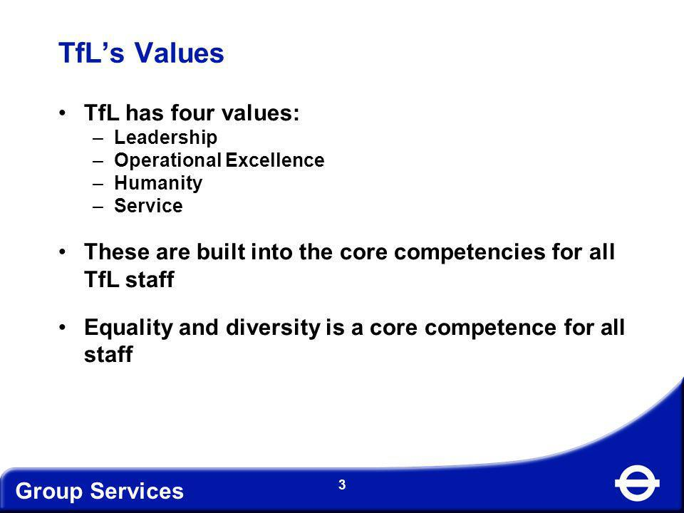 TfL's Values TfL has four values: