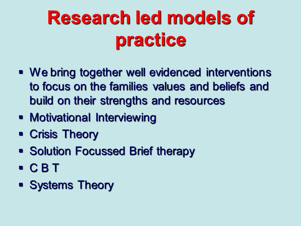 Research led models of practice