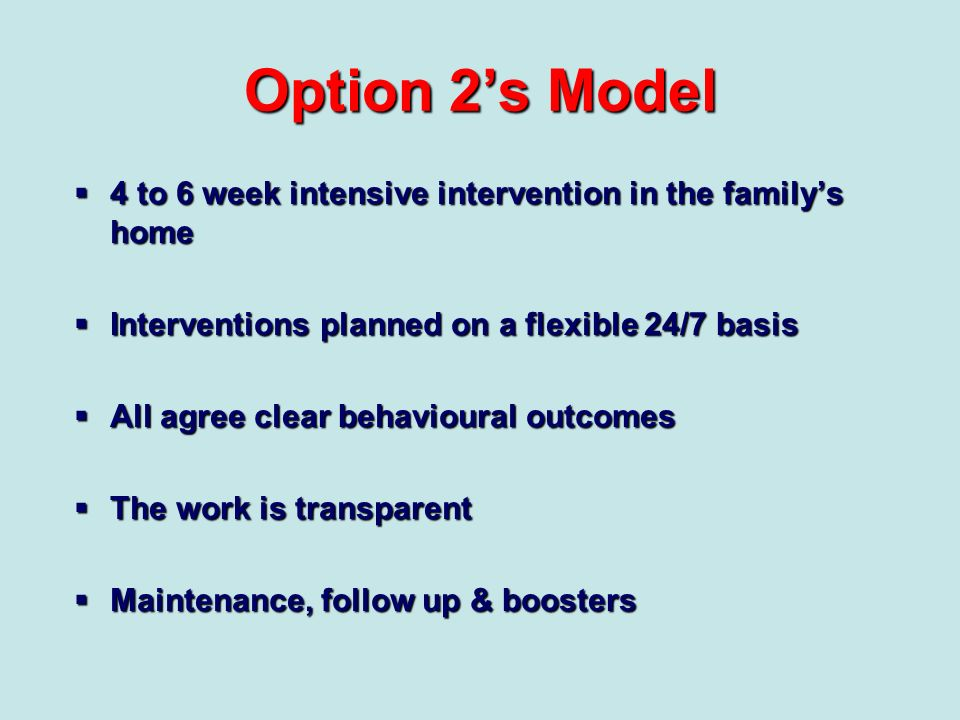 Option 2's Model 4 to 6 week intensive intervention in the family's home. Interventions planned on a flexible 24/7 basis.