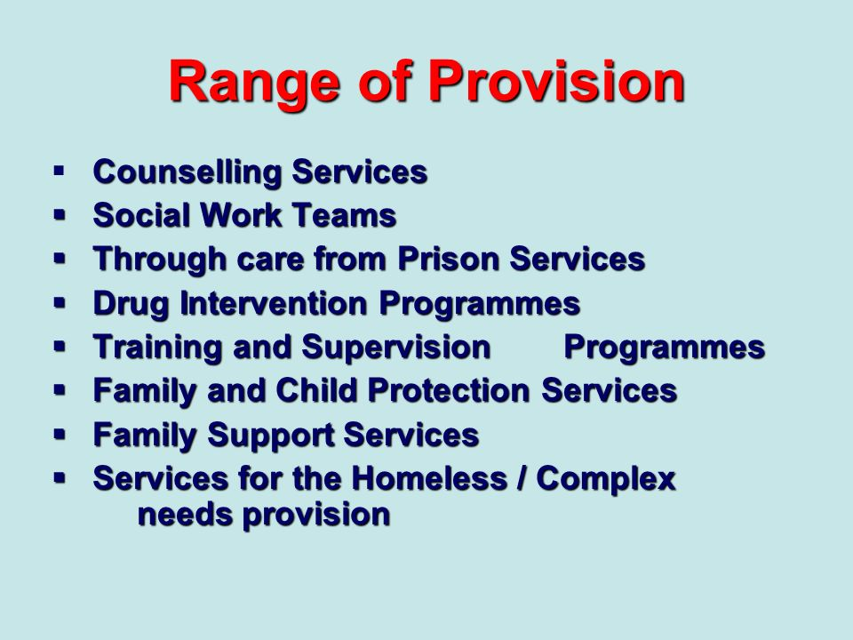 Range of Provision Counselling Services Social Work Teams
