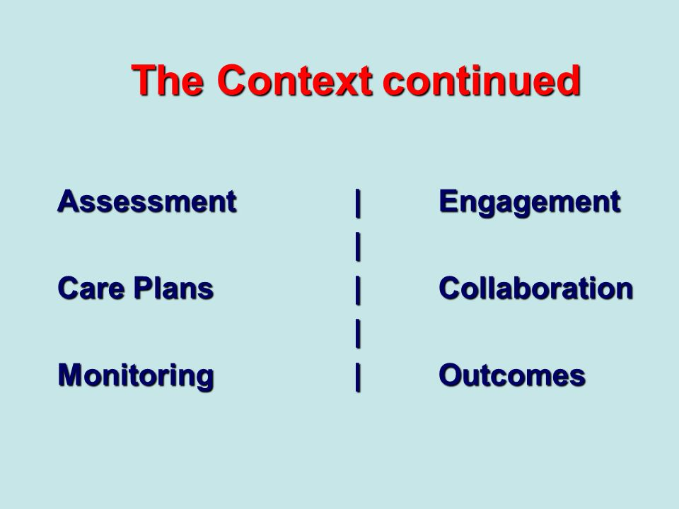 The Context continued Assessment | Engagement |