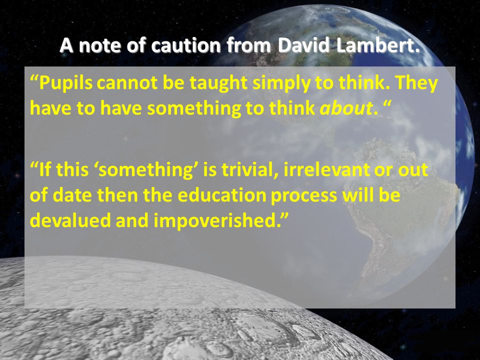 A note of caution from David Lambert.