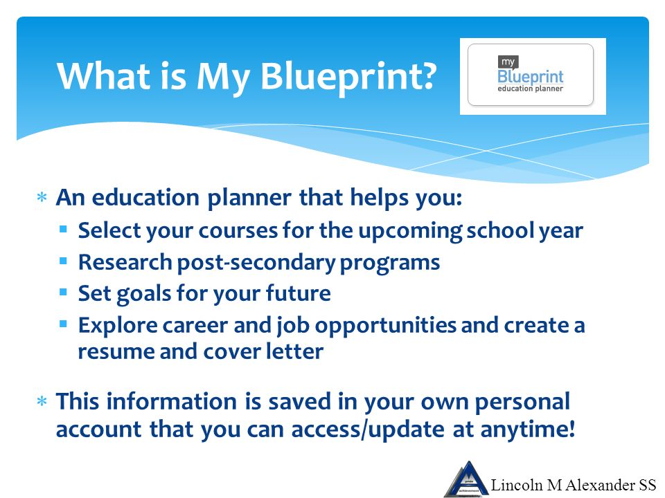 Lincoln m alexander secondary school ppt download what is my blueprint an education planner that helps you malvernweather Image collections