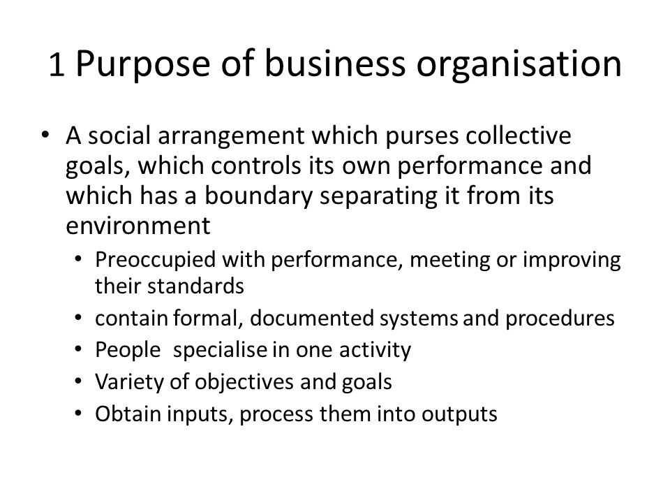 the purpose and types of business organisation