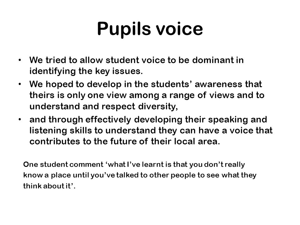 Pupils voice We tried to allow student voice to be dominant in identifying the key issues.