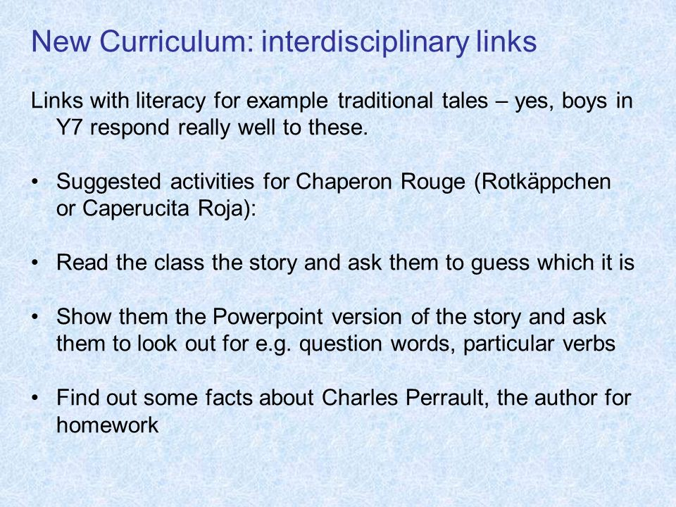 New Curriculum: interdisciplinary links