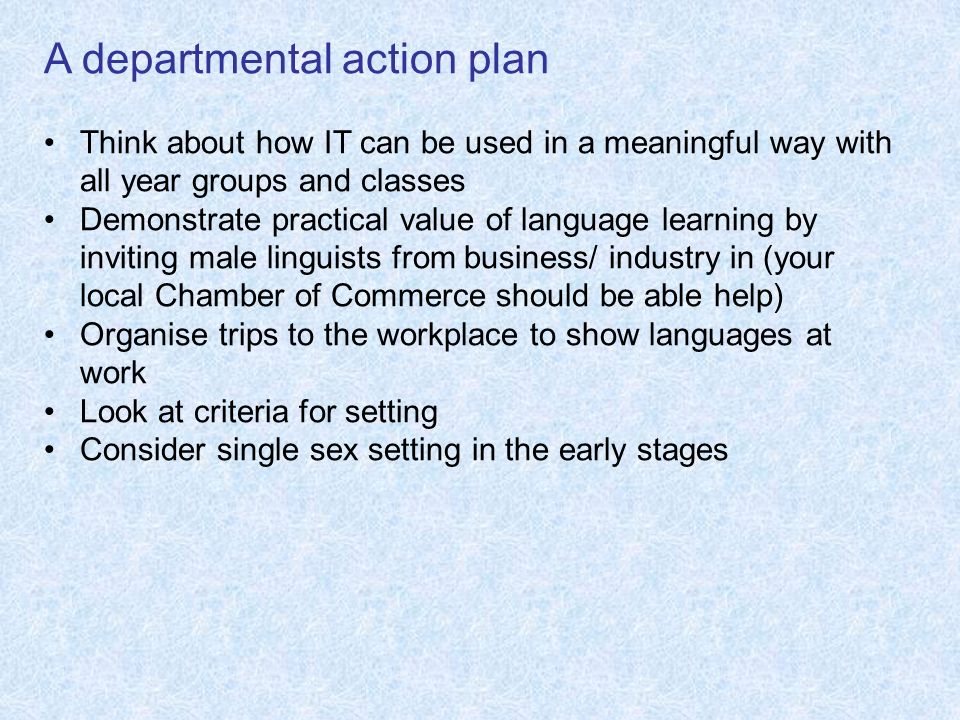 A departmental action plan