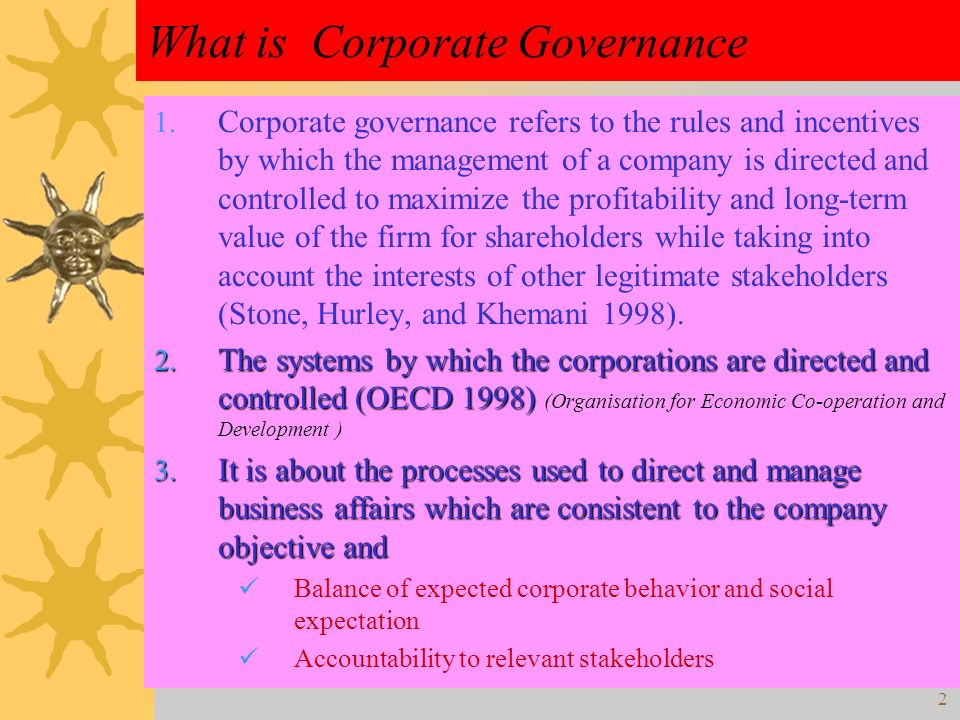 Corporate Governance BBA 361 Business Ethics and Corporate