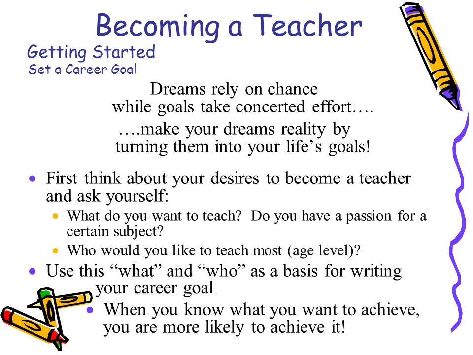 becoming a teacher getting started set a career goal