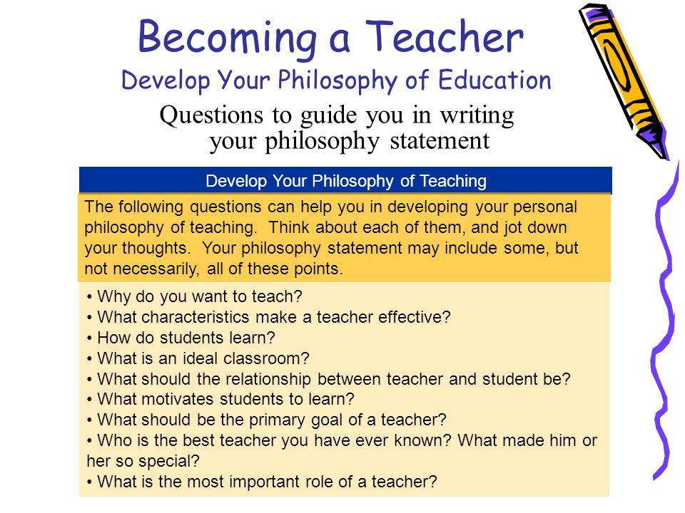 becoming a teacher develop your philosophy of education questions to guide you in writing your