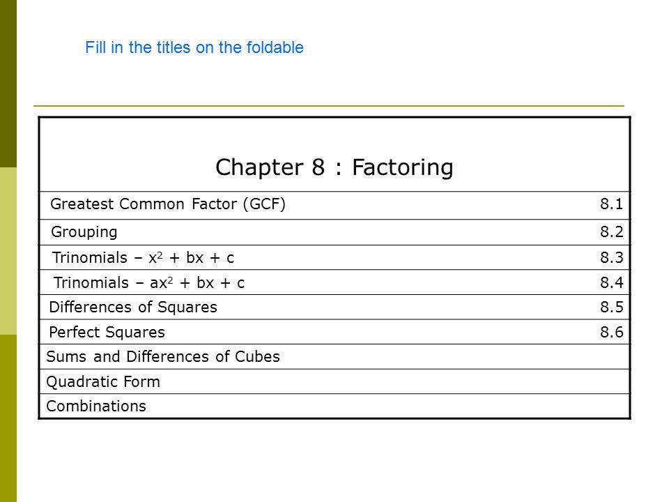 Chapter 8 Factoring Ppt Video Online Download