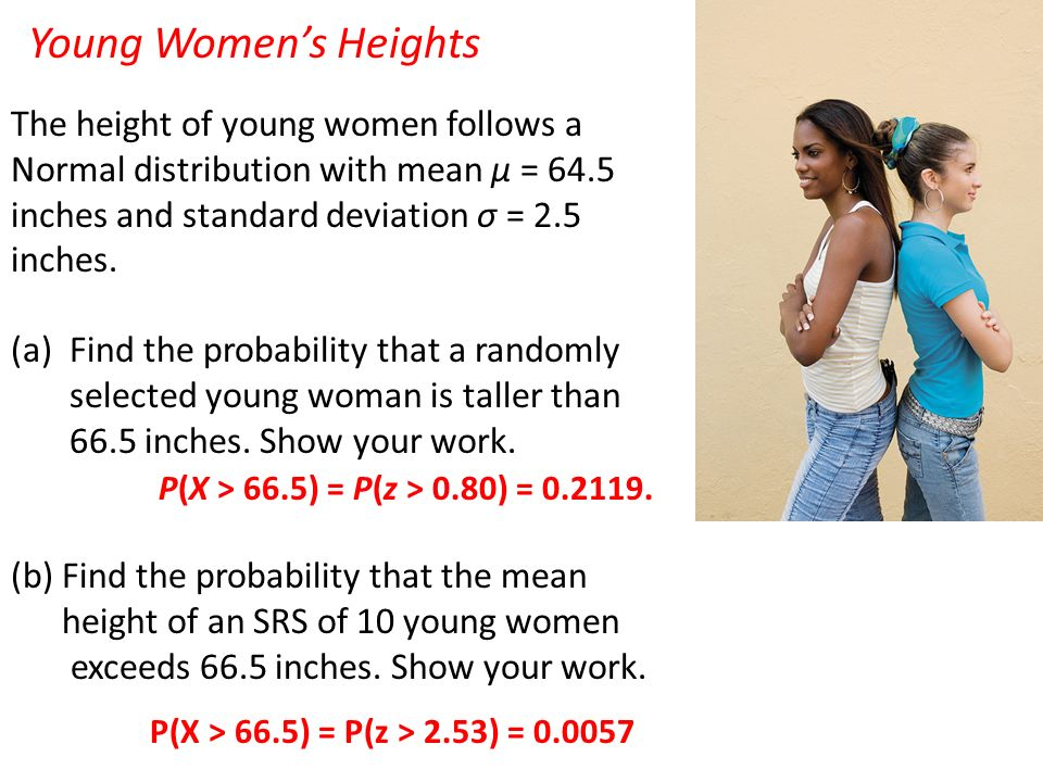 Young Women's Heights The height of young women follows a Normal distribution with mean μ = 64.5 inches and standard deviation σ = 2.5 inches.