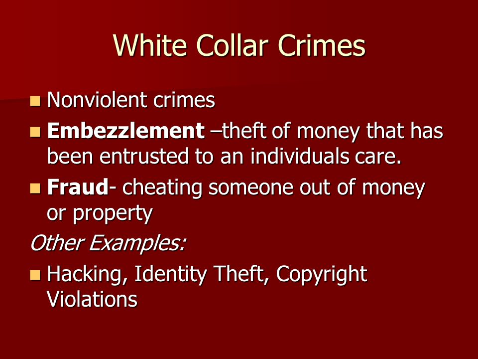 White Collar Crimes Nonviolent crimes