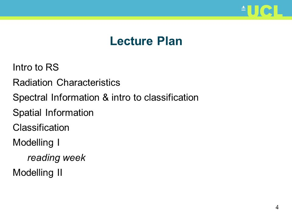 Lecture Plan Intro to RS Radiation Characteristics