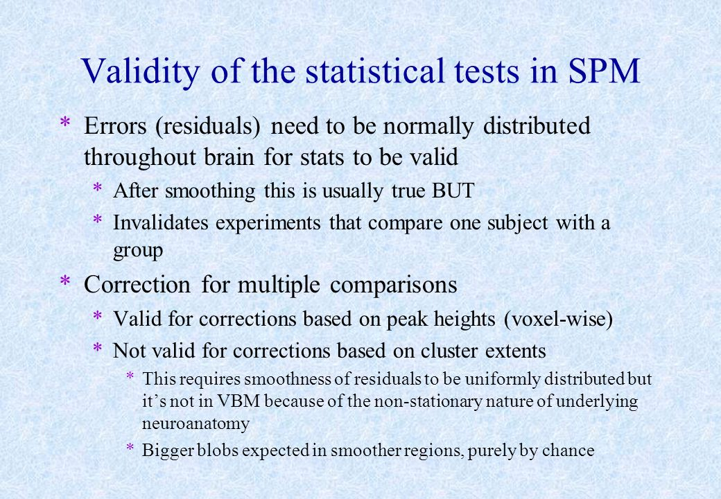 Validity of the statistical tests in SPM