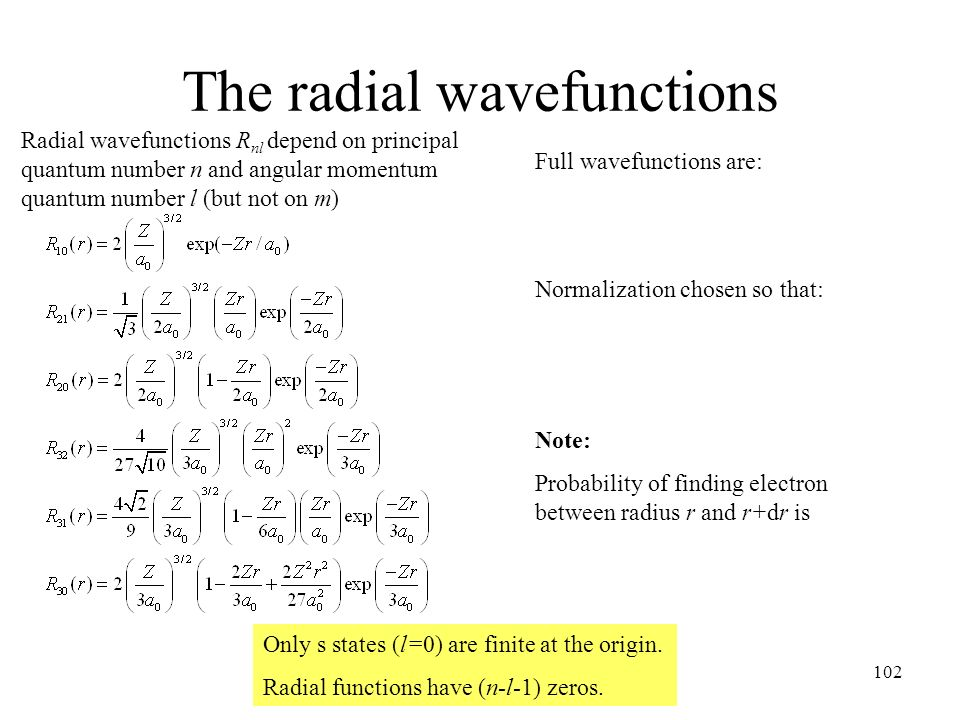 The radial wavefunctions