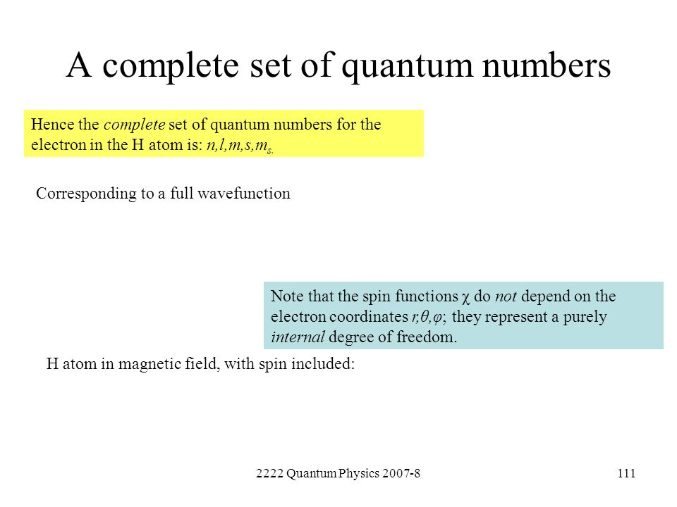 A complete set of quantum numbers