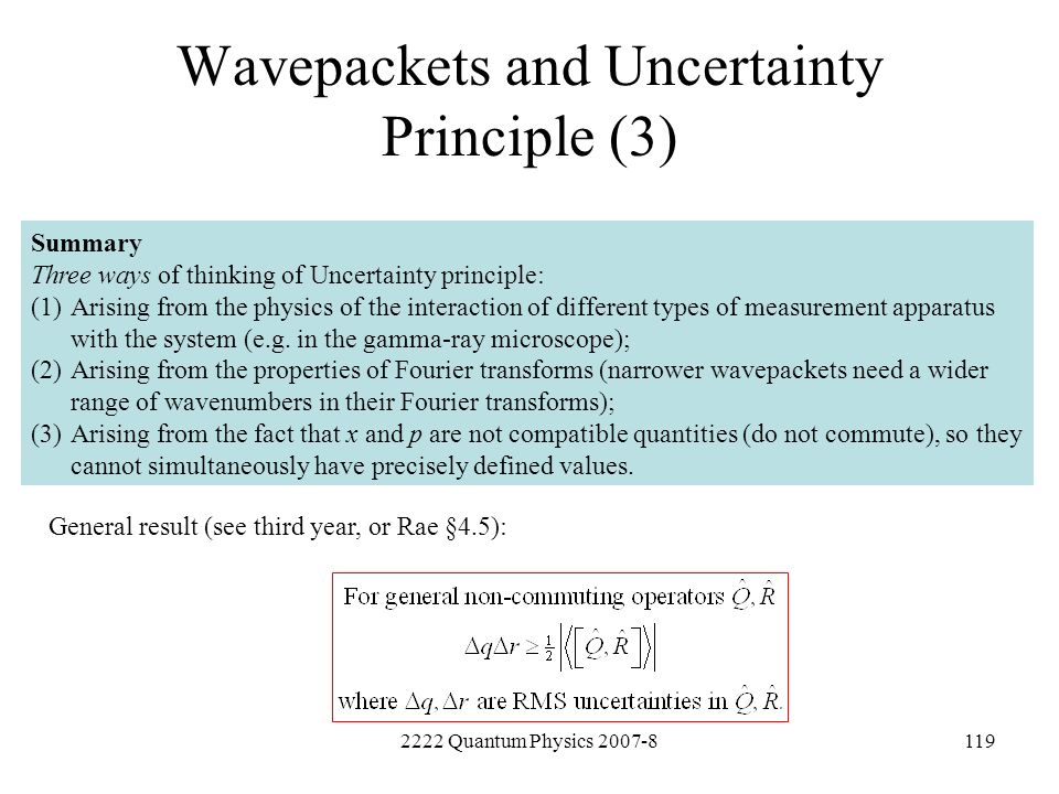 Wavepackets and Uncertainty Principle (3)
