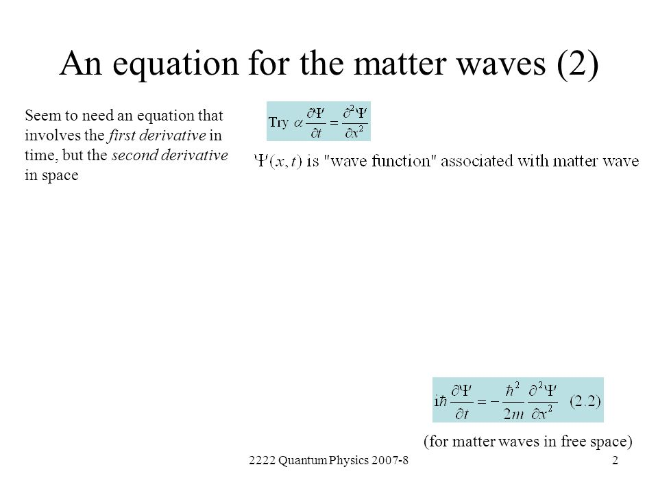 An equation for the matter waves (2)