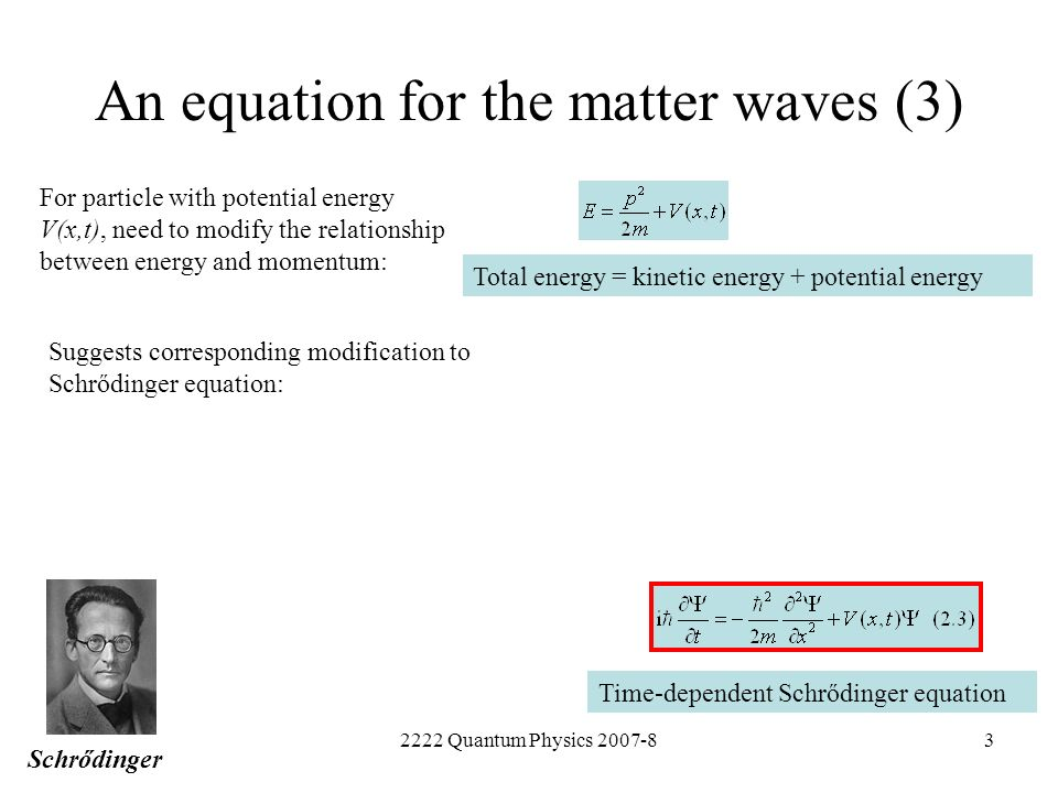 An equation for the matter waves (3)