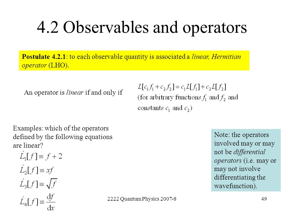4.2 Observables and operators