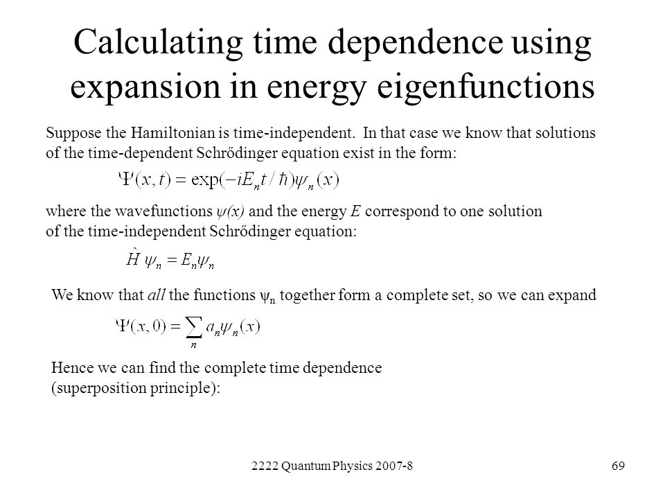 Calculating time dependence using expansion in energy eigenfunctions