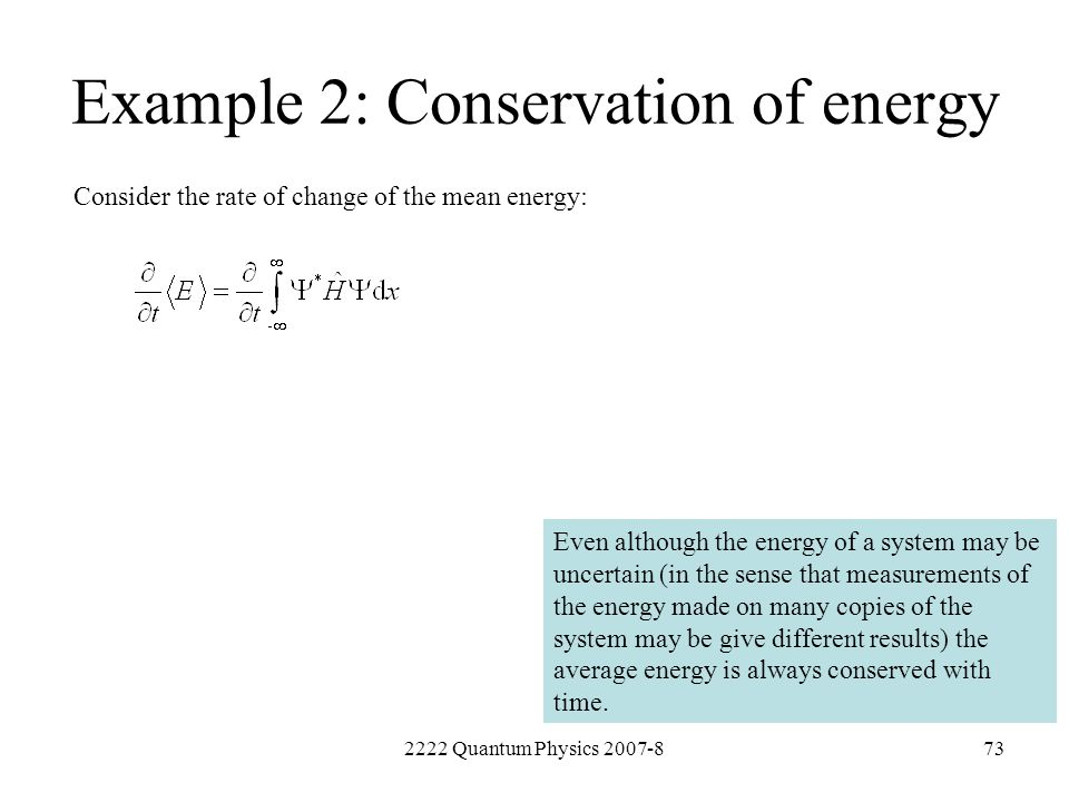 Example 2: Conservation of energy