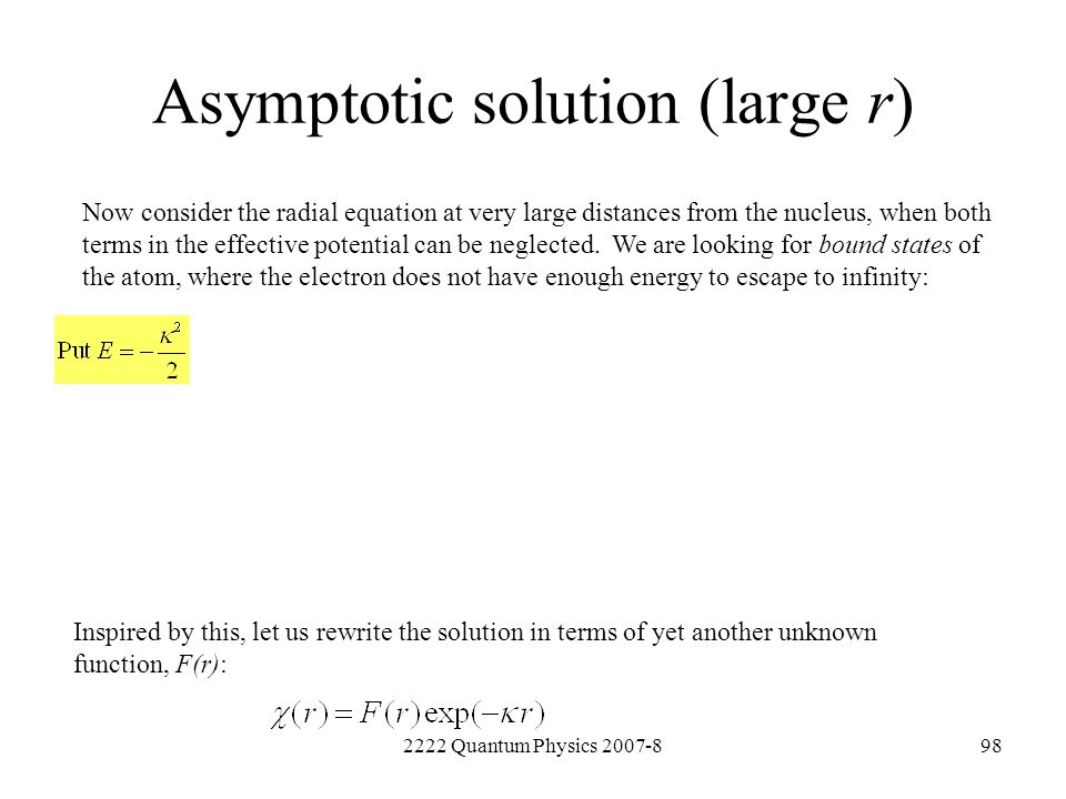 Asymptotic solution (large r)