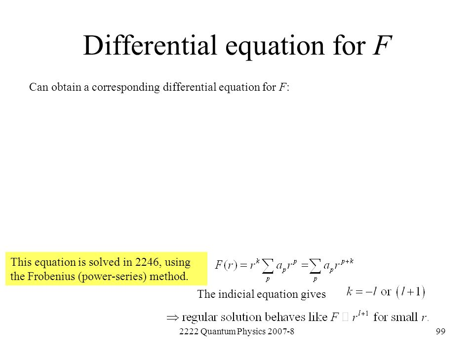 Differential equation for F