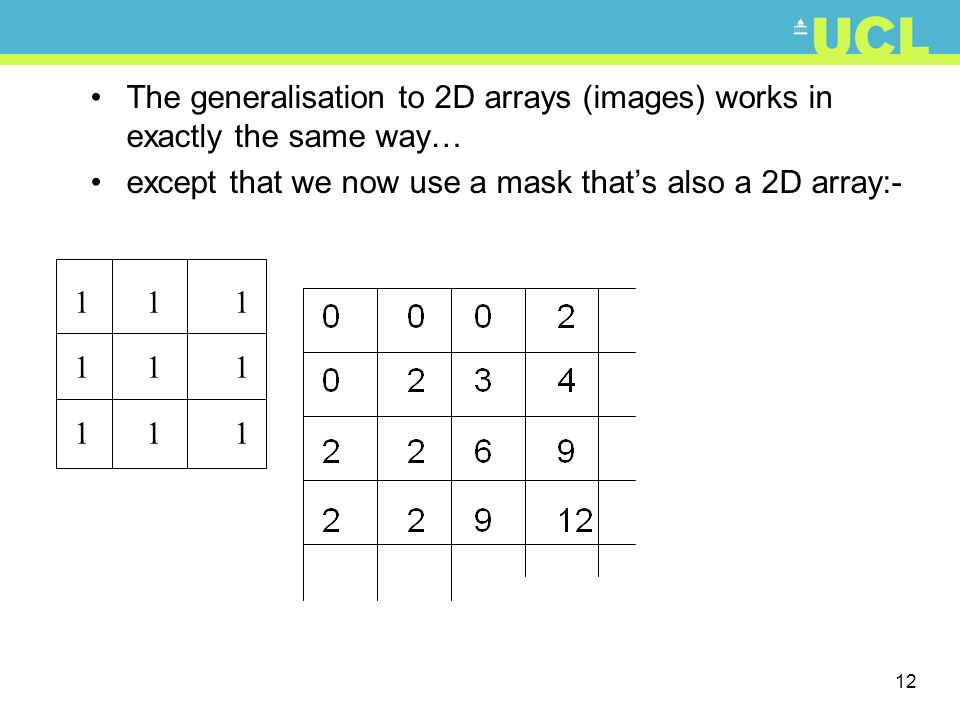 The generalisation to 2D arrays (images) works in exactly the same way…